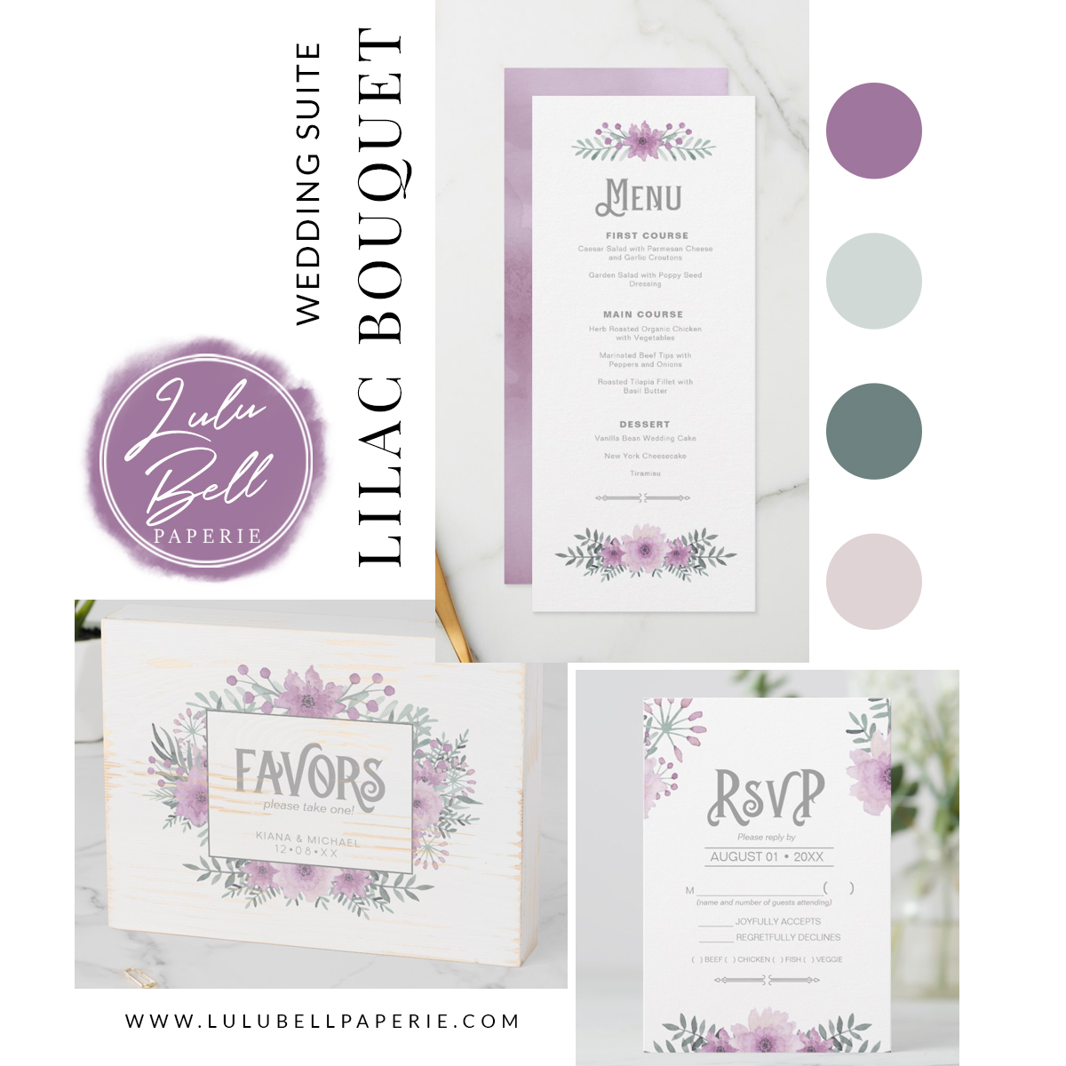Lilac floral bouquet wedding invitation suite. Featuring wooden favor sign, dinner menus, and rsvp cards. In a purple, mint green, and blush pink color palette.