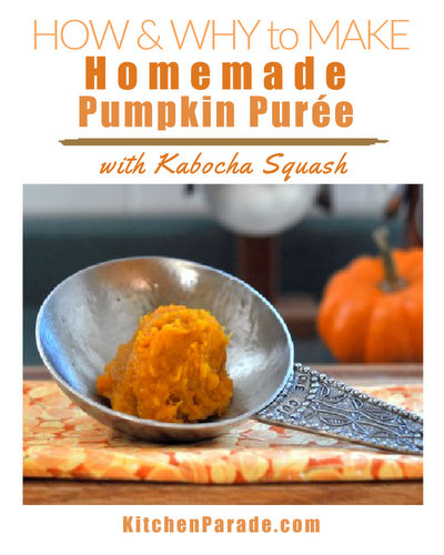 Homemade Kabocha Squash Pumpkin Purée ♥ KitchenParade.com, how and why to make pumpkin puree not from pumpkin but from kabocha squash.