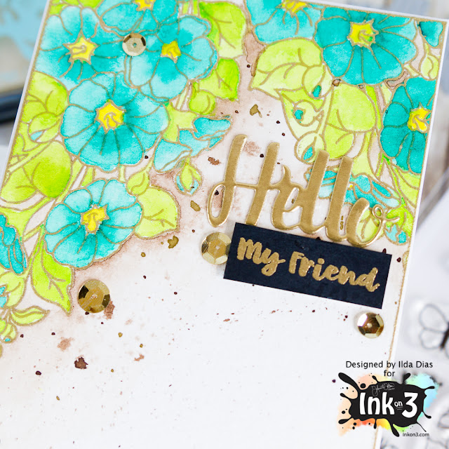 Hello My Friend - Gold Rush Ultra Fine Embossing Powder from Ink On 3 by ilovedoingallthingscrafty