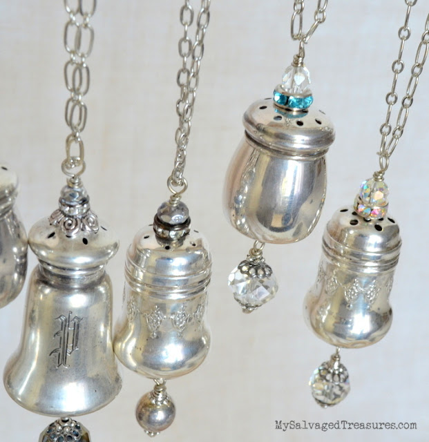 repurposed salt and pepper shaker necklaces upcycled
