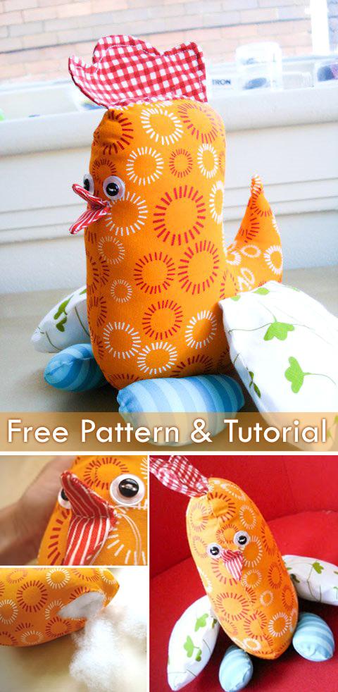 Chicken Soft Toy Pillow Pattern & Tutorial