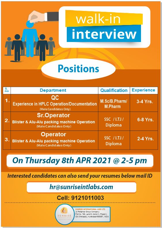 Sunrise International labs | Walk-in for Production/QC on 8th April 2021