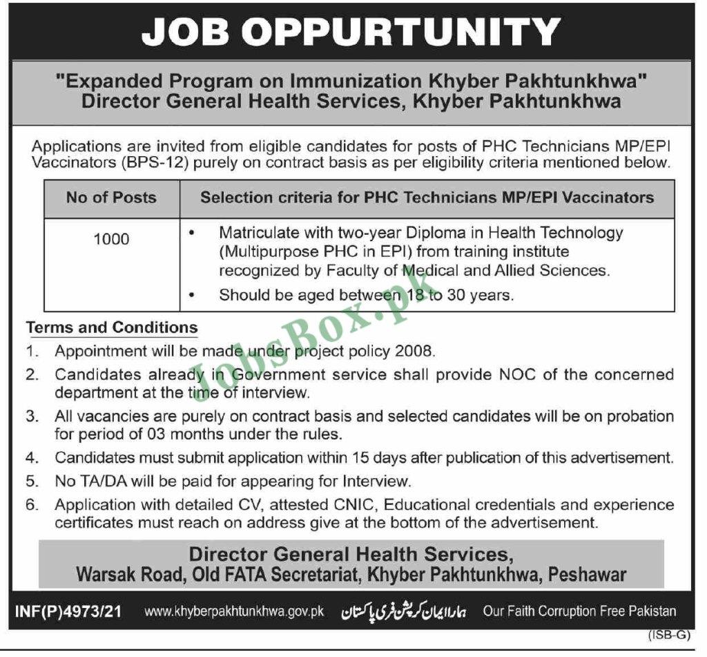 Health Department Khyber Pakhtunkhwa Jobs 2021 (1000 Vacancies)