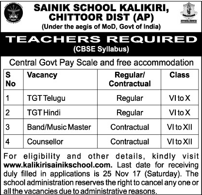 Sainik School Kalikiri Recruitment