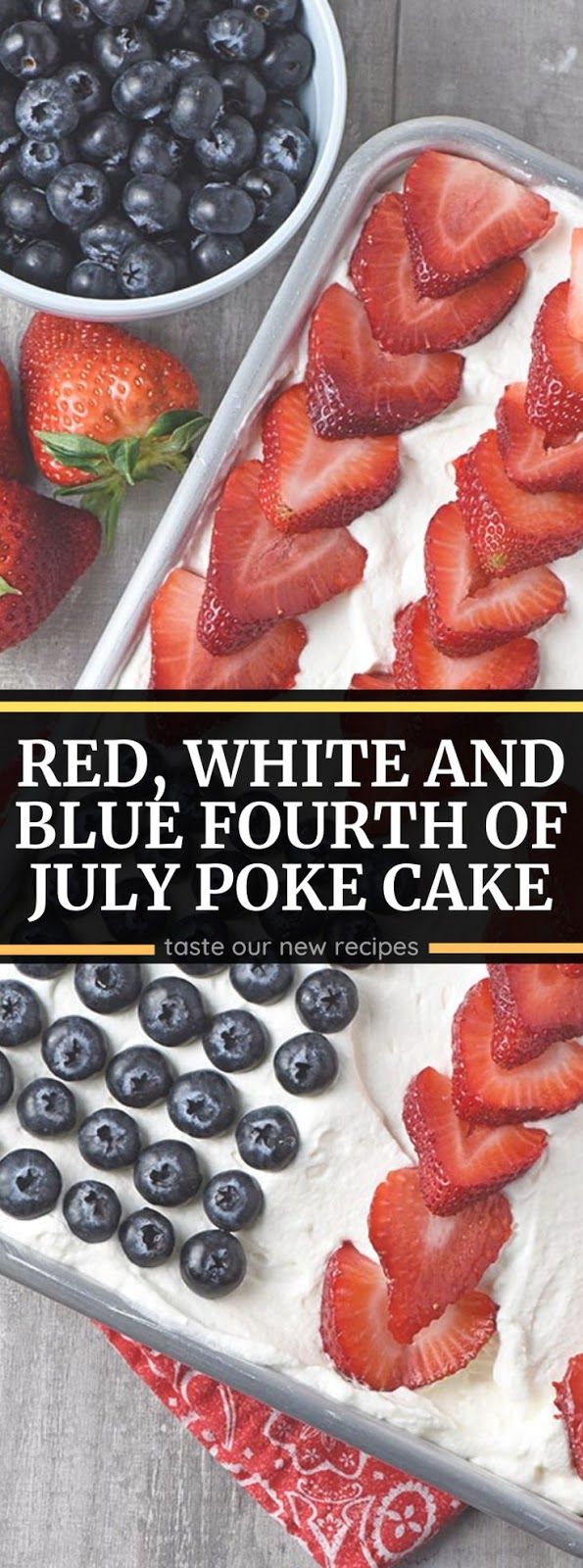 Red, White and Blue Fourth of July Poke Cake
