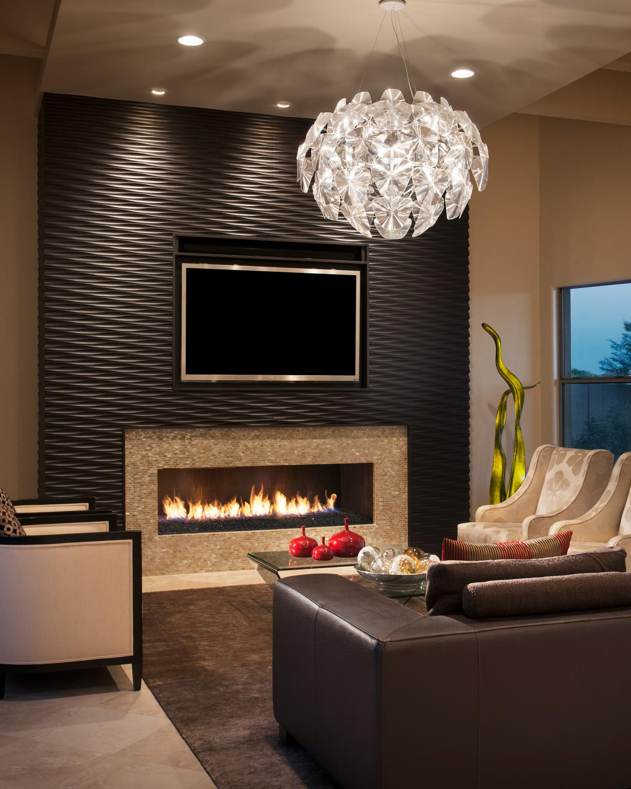 Modern Living Room With Fireplace Wall