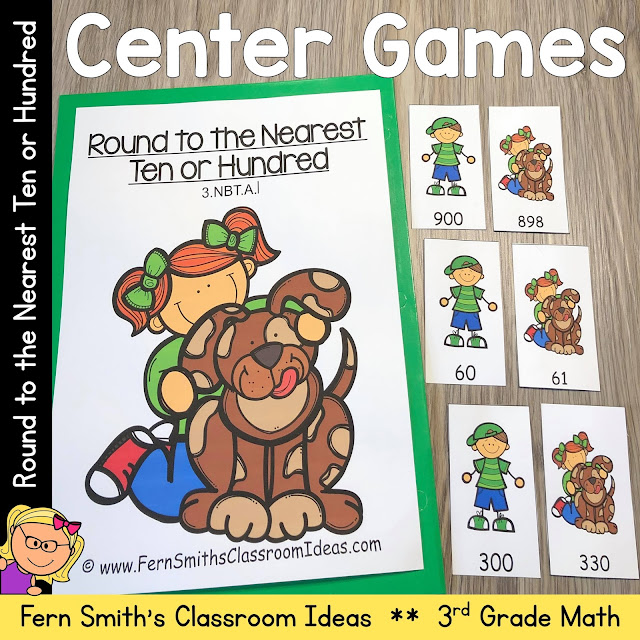 Click here to Download this 3rd Grade Go Math 1.2 Round to the Nearest Ten or Hundred Center Games Resource for Your Classroom Today