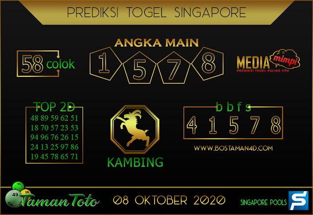 Prediksi Togel SINGAPORE TAMAN TOTO 08 OKTOBER 2020