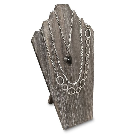 Wooden Jewelry Display Bust with Easel for 3 Necklaces - Coffee