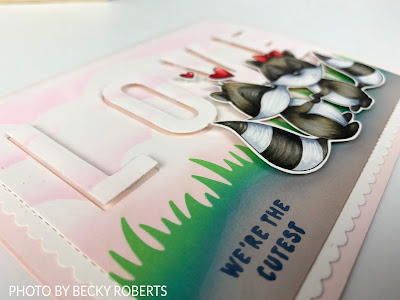 Handmade card, featuring Copic colored image, ink blended background, die cutting and stamping