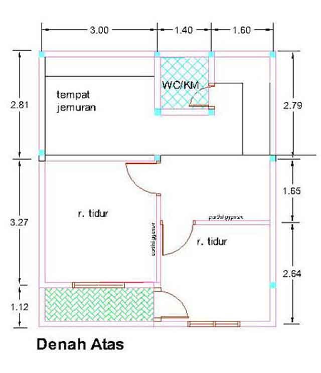 Contoh Denah Rumah Kopel KPR-BTN Type 21/60 | Desain Rumah ...