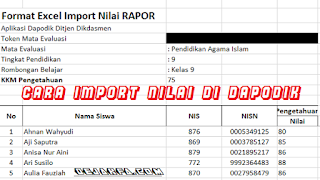 Format Import Nilai Rapor di Dapodik 2017