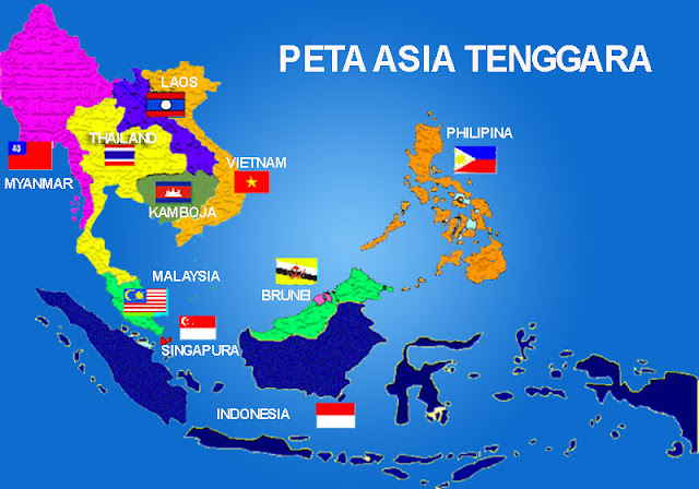 Gambar Peta Asia Tenggara lengkap Bendera