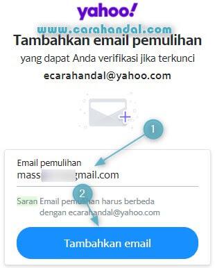 Cara Menambahkan Email Pemuihan Yahoo