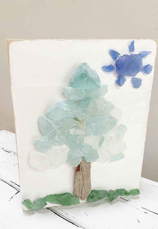 sea glass tree with sun on white background