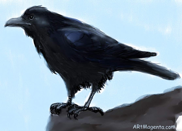 Picture of raven, sketch painting. Bird art drawing by illustrator Artmagenta