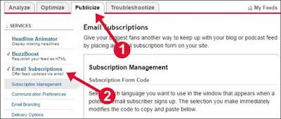 Step 1: Sabse pahle Feedburner Account me jakar apni Gamil ID se sign kare. fir apne RSS Feed par click kare. Publicize par click kare. Email Subscriptions par click kar.