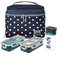 Lock & Lock Lunch Box, Set of 4 Pieces - Blue, HPL758S3DB