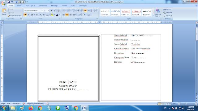 Download Contoh Buku Tamu Umum Paud TK KB RA