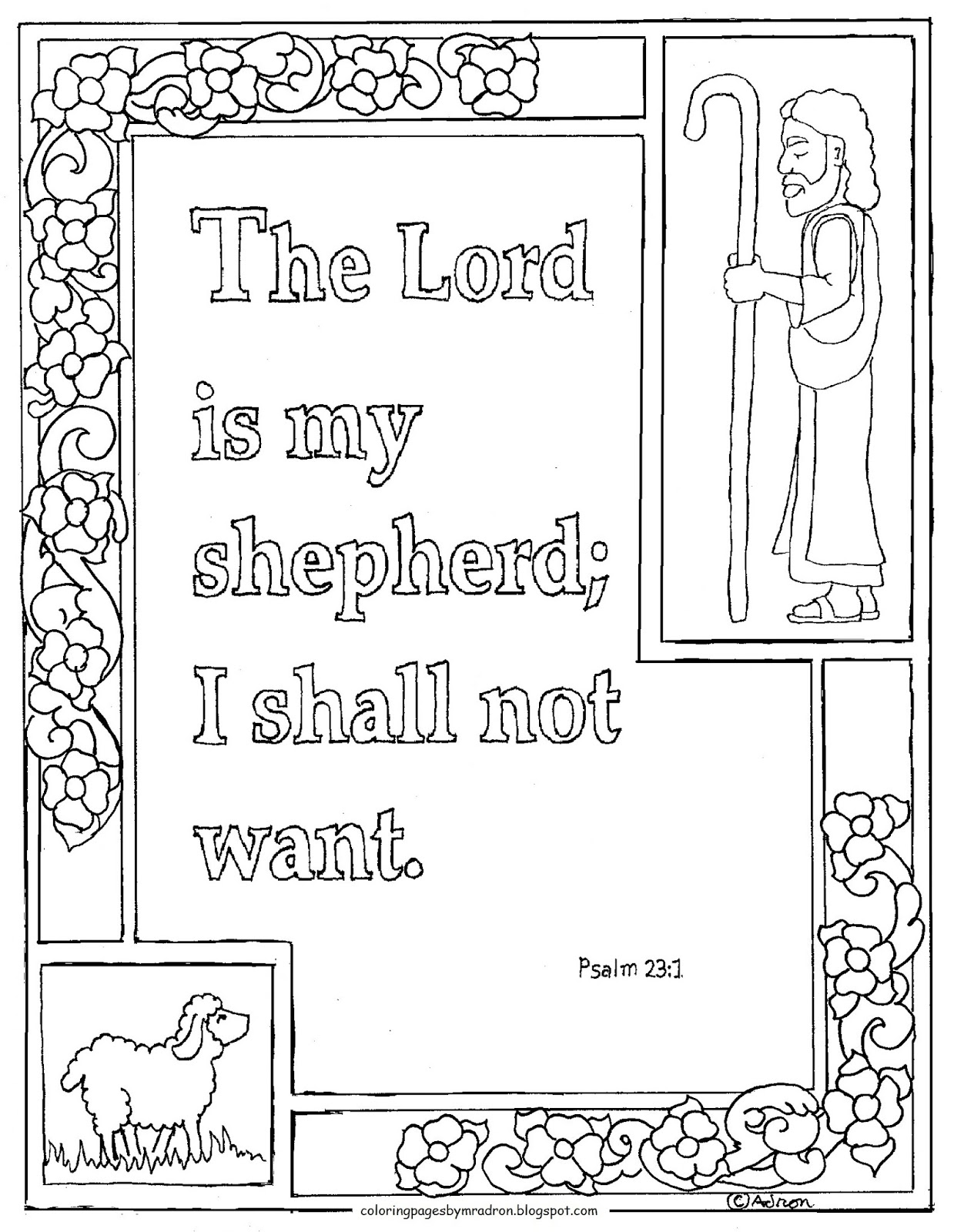 Coloring Pages For Kids By Mr Adron Printable Psalm 23 1 The Lord Is My Shepherd Coloring Page