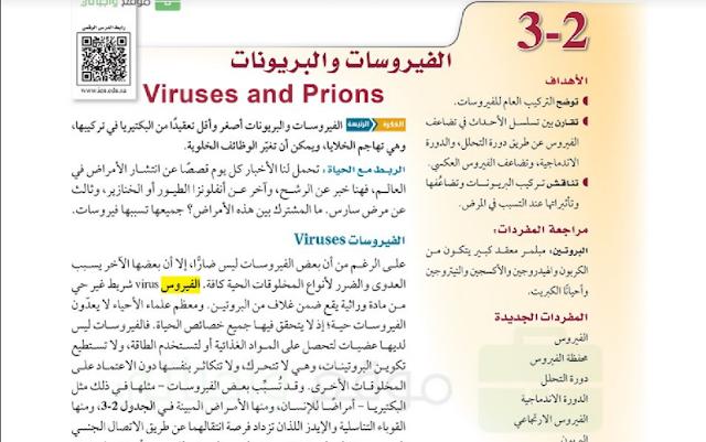 حل درس الفيروسات والبرويونات للصف الاول ثانوي