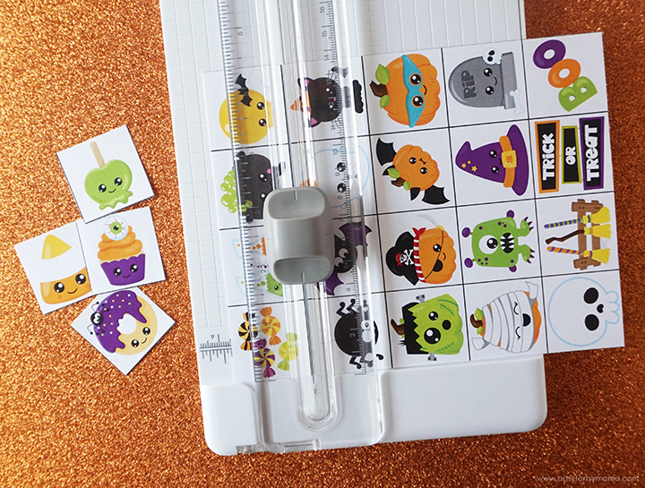 Cutting Halloween Bingo Pieces