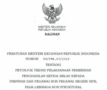 Pimpinan dan Pegawai Non PNS Lembaga Non Struktural Tahun  Juknis Pembayaran Gaji ke-13 Pimpinan dan Pegawai Non PNS Lembaga Non Struktural 2020