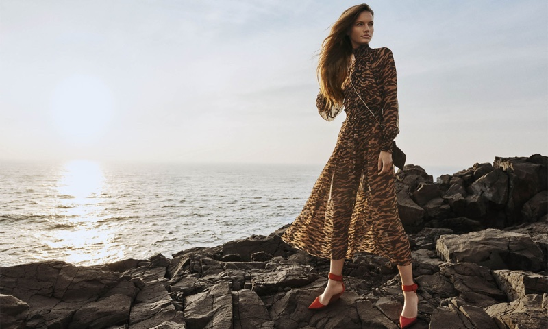 Faretta models Zimmermann Wavelength shirred midi dress from spring 2020 collection