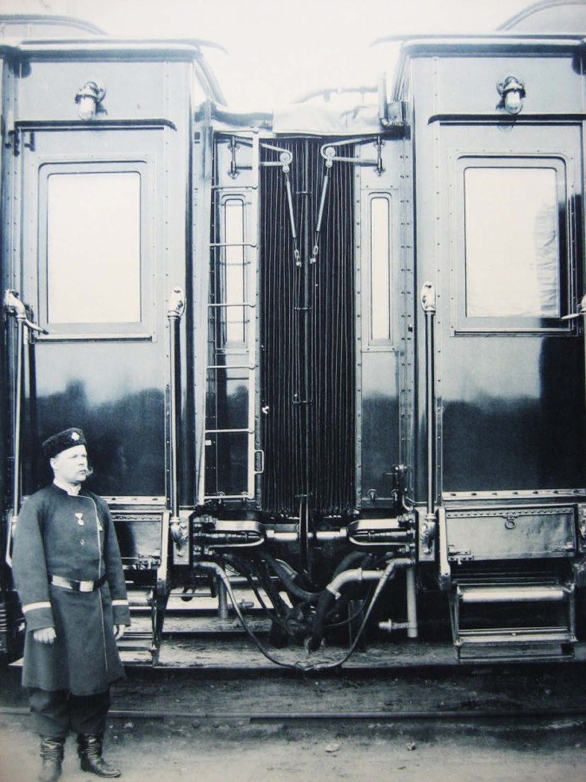 A guard in front of the carriage.