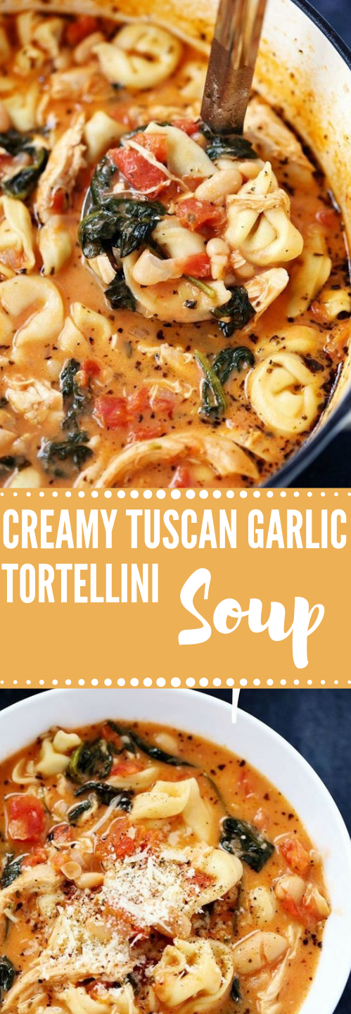 CREAMY TUSCAN GARLIC TORTELLINI SOUP #dinner #vegan #soup #food #healthyrecipe
