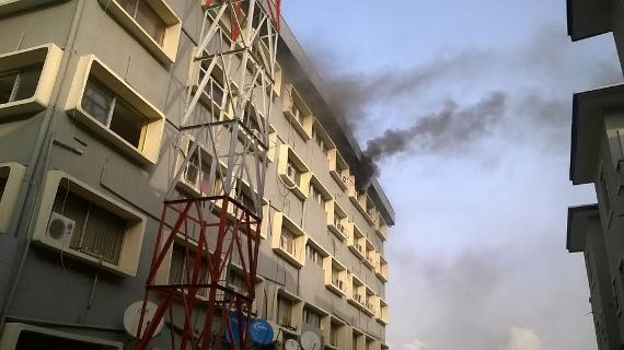 BREAKING: Wuraola House in Ikeja is presently on fire