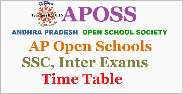 APOSS SSC exams,Inter Exams, Time Table @ apopenschool.org