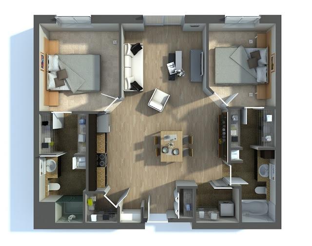Gambar Denah Rumah 2 Kamar 3D