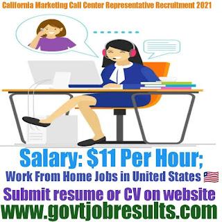 California Marketing Call Center Representative Part-time Jobs in 2021-22