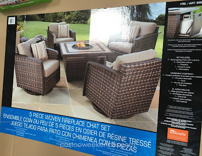 Lounge outside around the fire with the Agio International 5 Piece Woven Fireplace Chat Set
