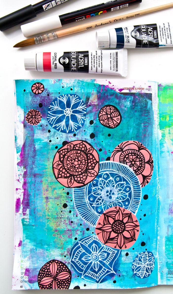Easy art journal page with Mandala art and a video by Kim Dellow