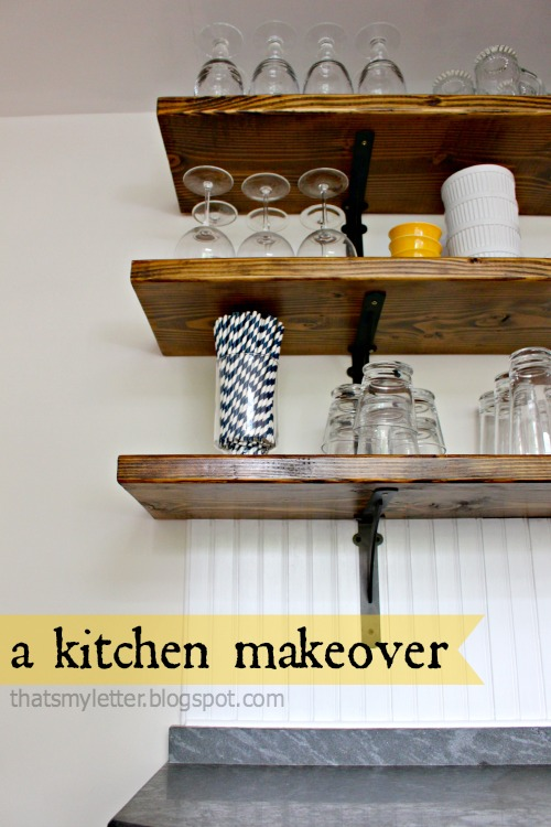 farmhouse style kitchen makeover open shelving