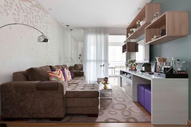 Decoração de sala de estar de apartamento