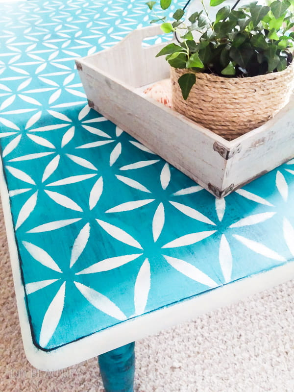 turquoise stenciled coffee table
