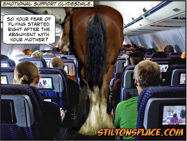 stilton's place, stilton, political, humor, conservative, cartoons, jokes, hope n' change, service animal, emotional support, animal, horse, flight