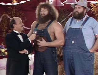 WWE / WWF Saturday Night's Main Event 2 - Mean Gene Okerlund interviews Uncle Elmer and Hillbilly Jim about Elmer's wedding