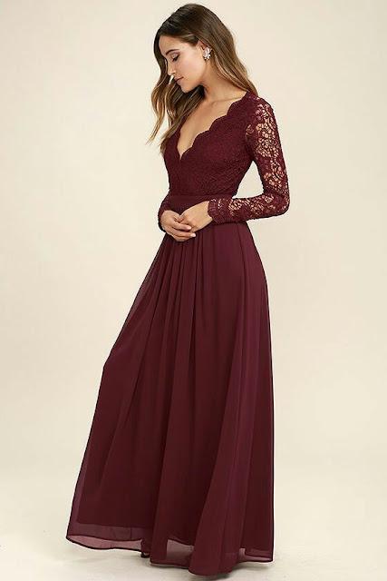 Sleeve laces long maxi dress