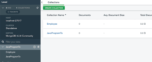 Creating a DataBase and Collection (Table) with MongoDB Compass