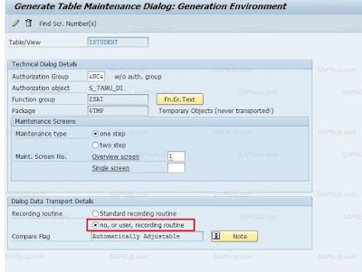How to avoid Transport Request in Table maintenance Generator?