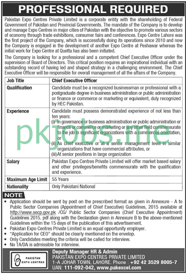 Latest Pakistan Expo Centres Private Limited Posts 2021