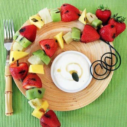 Grilled Fruit Kabobs with Honey Lime Yogurt Dip