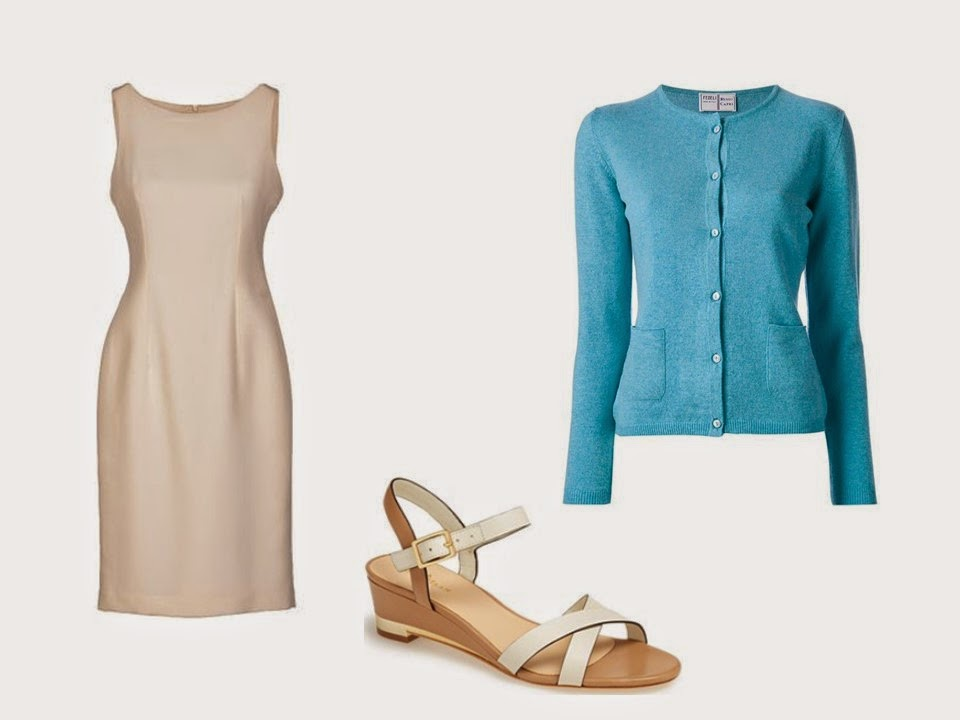 beige dress beige sandals turquoise cardigan Starting From Scratch Wardrobe