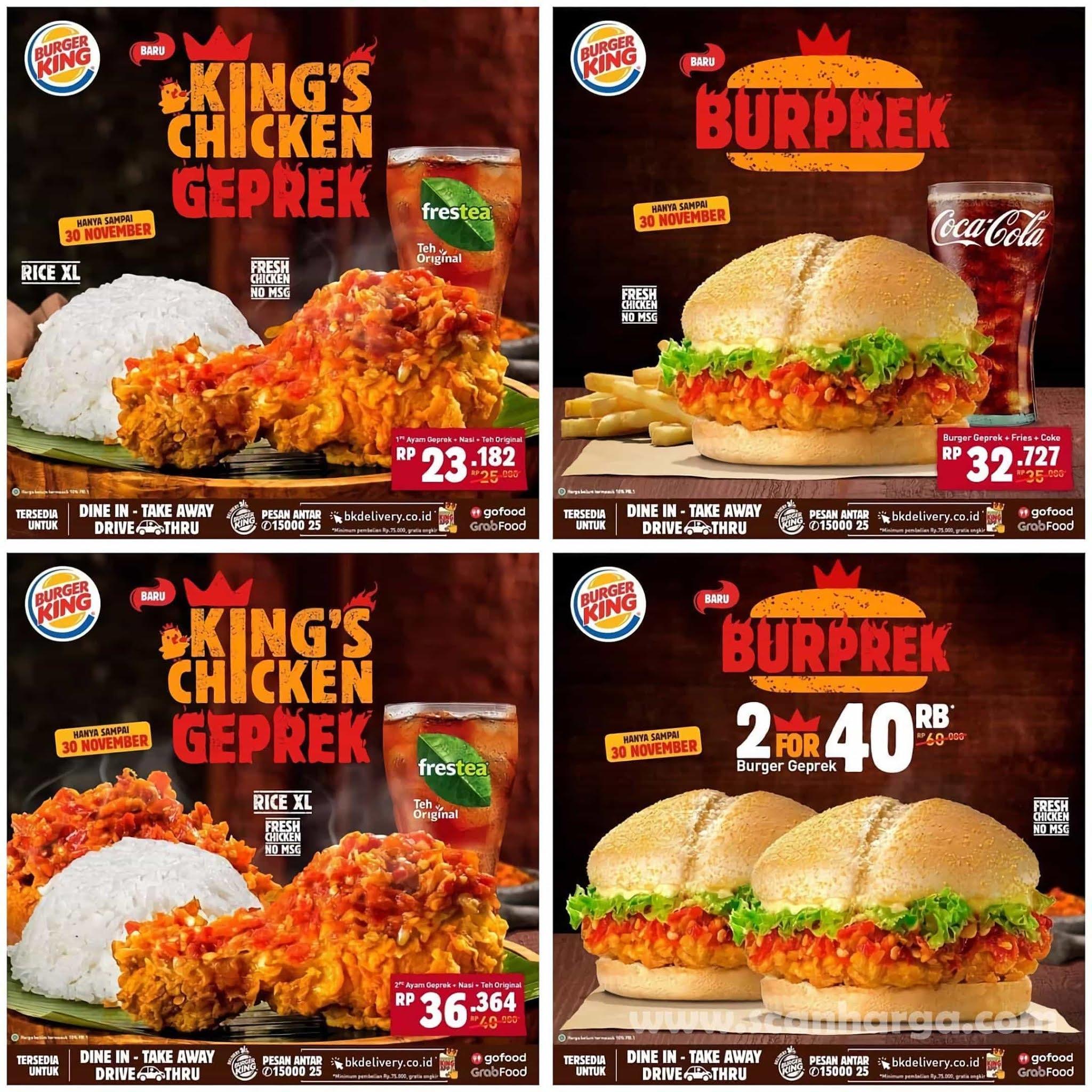 Burger King BUPREK & CHICKEN GEPREK mulai dari Rp 23.182,- hingga 30 November 2020 2