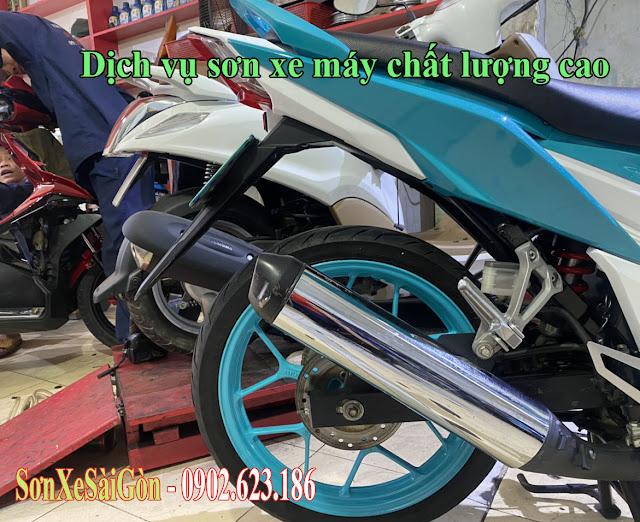 Sơn mâm xe máy Raider màu xanh nitron cực đẹp ở TPHCM