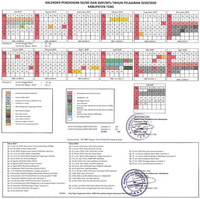 Kalender Pendidikan Tahun Pelajaran 2019/2020 Kabupaten Tebo Provinsi Jambi